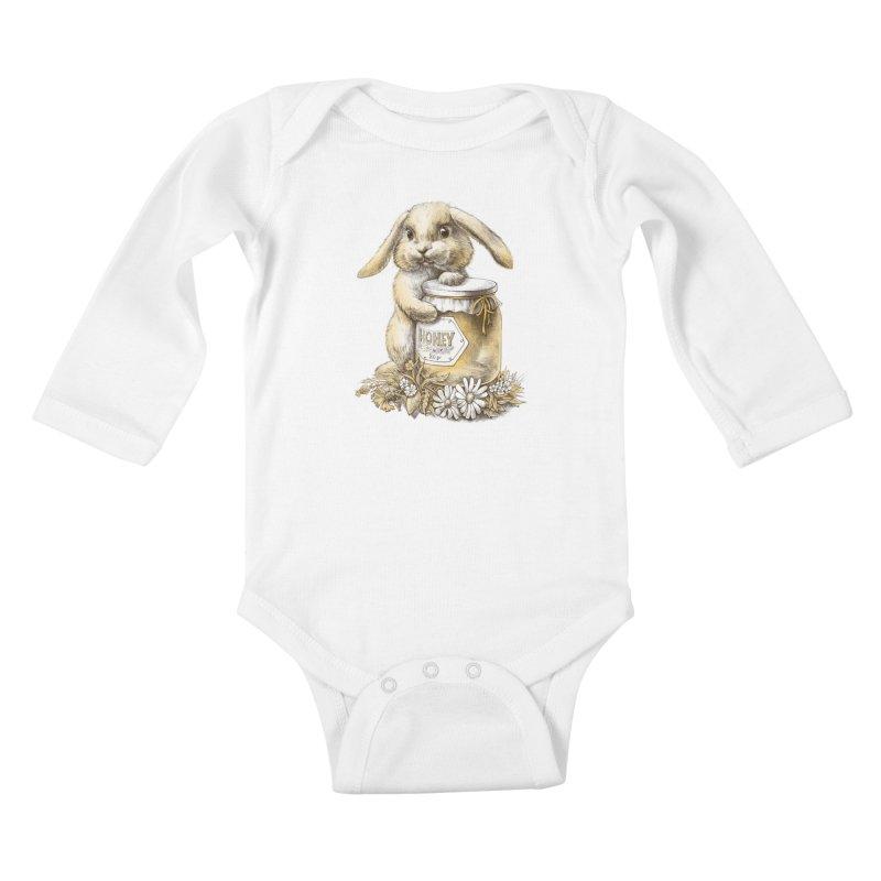Honey bunny Kids Baby Longsleeve Bodysuit by elinakious's Artist Shop