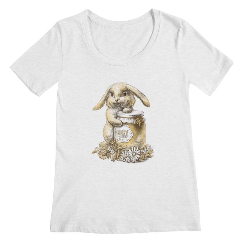 Honey bunny Women's Scoopneck by elinakious's Artist Shop
