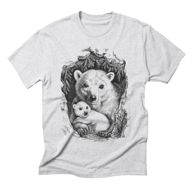 Polar bear family Men's Triblend T-shirt by elinakious's Artist Shop
