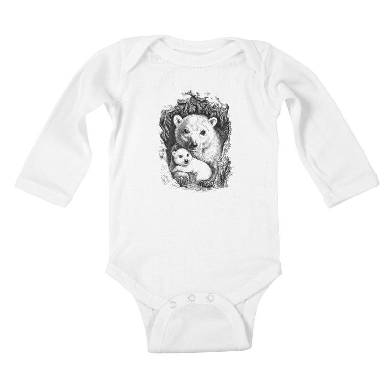 Polar bear family Kids Baby Longsleeve Bodysuit by elinakious's Artist Shop
