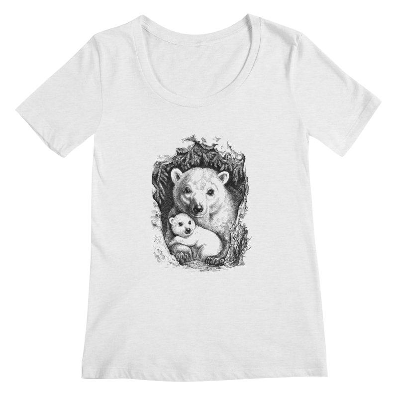 Polar bear family Women's Scoopneck by elinakious's Artist Shop