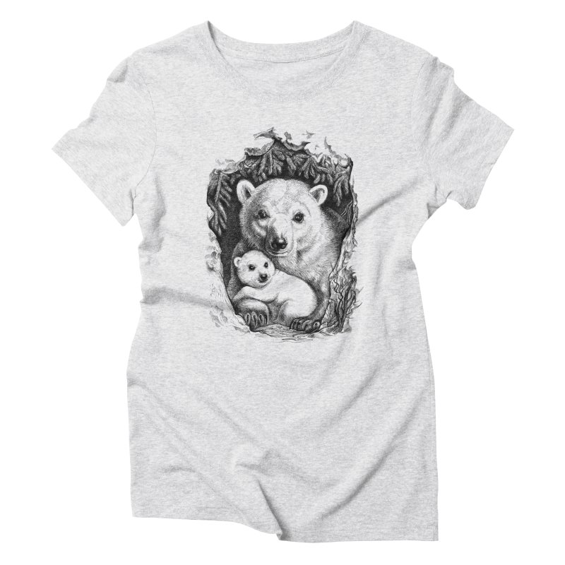 Polar bear family Women's Triblend T-shirt by elinakious's Artist Shop