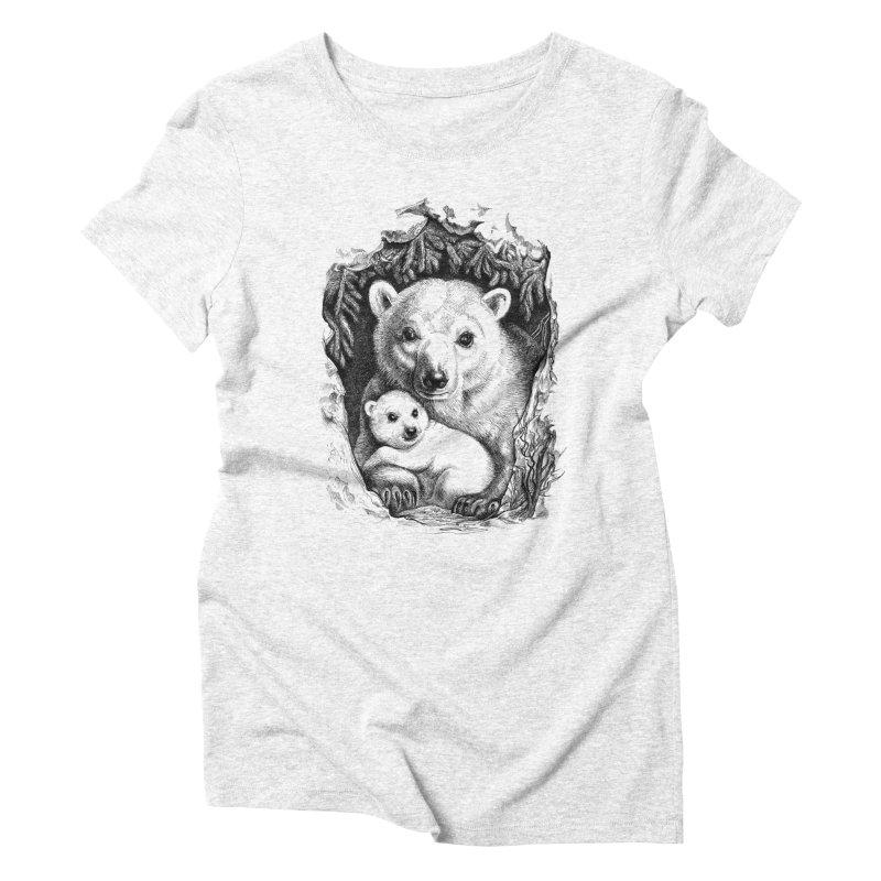 Polar bear family Women's Triblend T-shirt by elinakious's Artist Shop