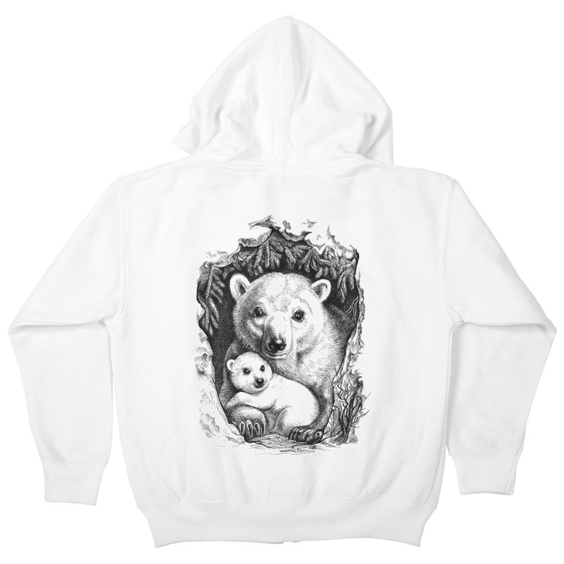 Polar bear family Kids Zip-Up Hoody by elinakious's Artist Shop