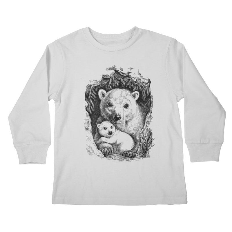 Polar bear family Kids Longsleeve T-Shirt by elinakious's Artist Shop