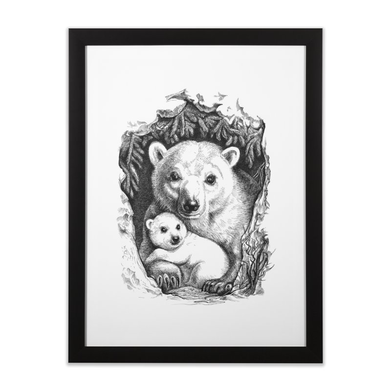Polar bear family Home Framed Fine Art Print by elinakious's Artist Shop