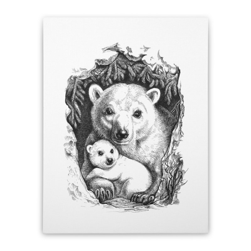 Polar bear family Home Stretched Canvas by elinakious's Artist Shop