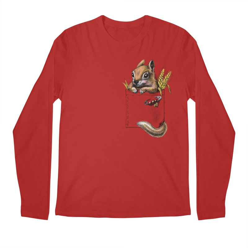 Pocket chipmunk Men's Longsleeve T-Shirt by elinakious's Artist Shop