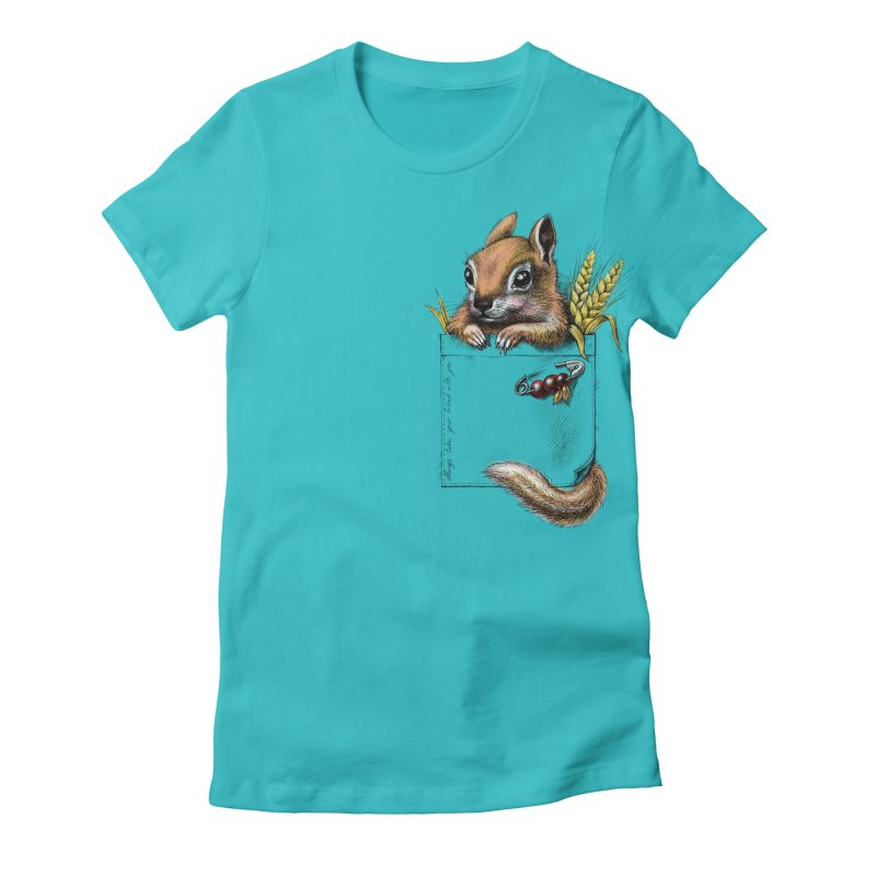 Pocket chipmunk Women's Fitted T-Shirt by elinakious's Artist Shop