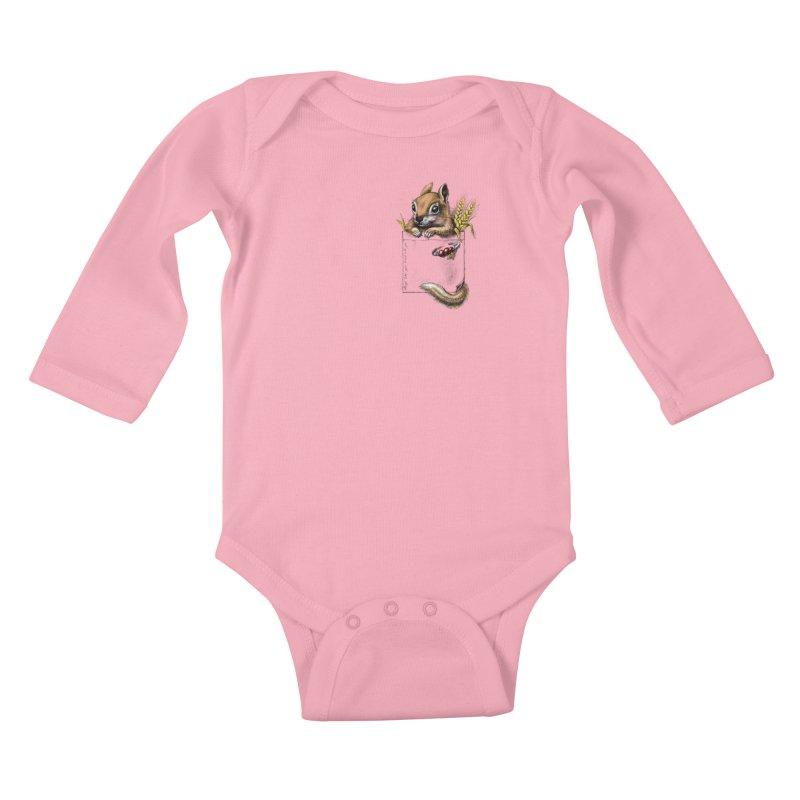 Pocket chipmunk Kids Baby Longsleeve Bodysuit by elinakious's Artist Shop