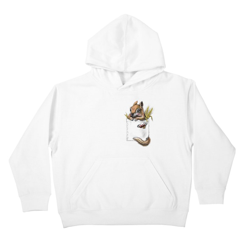 Pocket chipmunk Kids Pullover Hoody by elinakious's Artist Shop