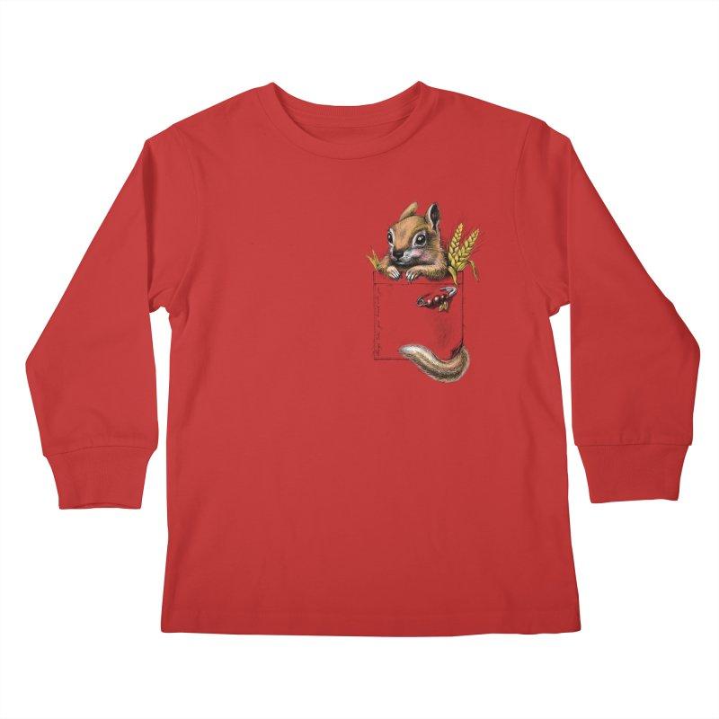 Pocket chipmunk Kids Longsleeve T-Shirt by elinakious's Artist Shop