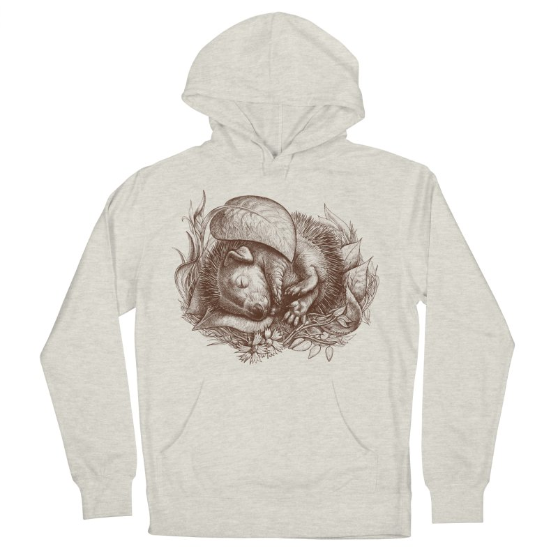 Baby hedgehog sleeping Men's Pullover Hoody by elinakious's Artist Shop