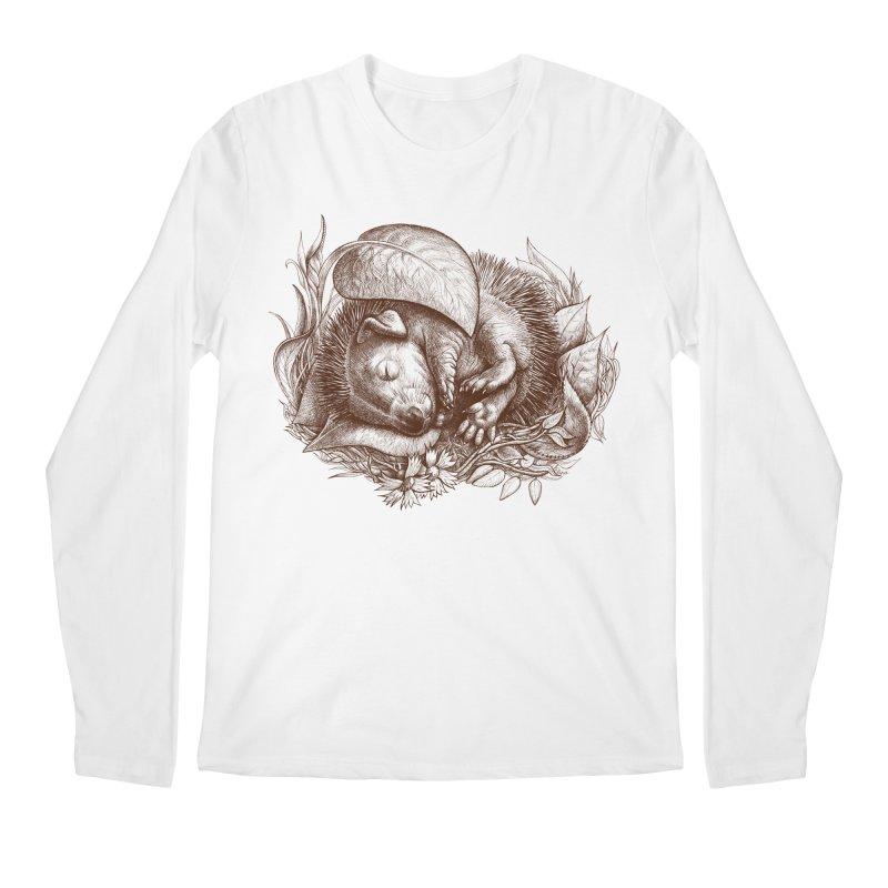 Baby hedgehog sleeping Men's Longsleeve T-Shirt by elinakious's Artist Shop