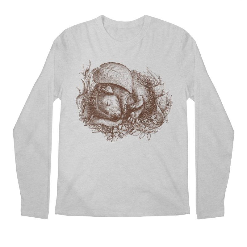 Baby hedgehog sleeping Men's Longsleeve T-Shirt by elinakious's Artist Shop