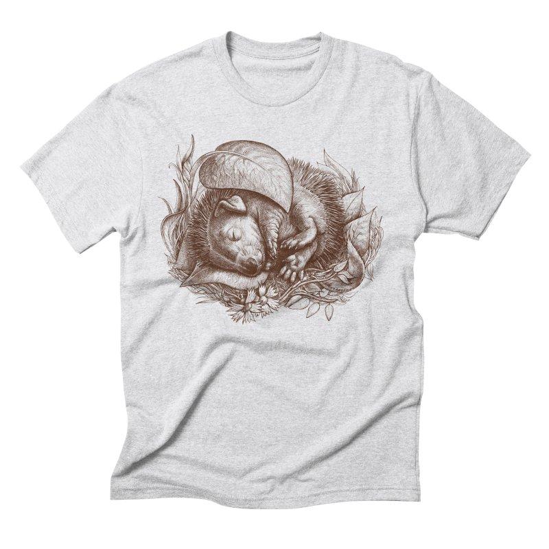 Baby hedgehog sleeping Men's Triblend T-shirt by elinakious's Artist Shop