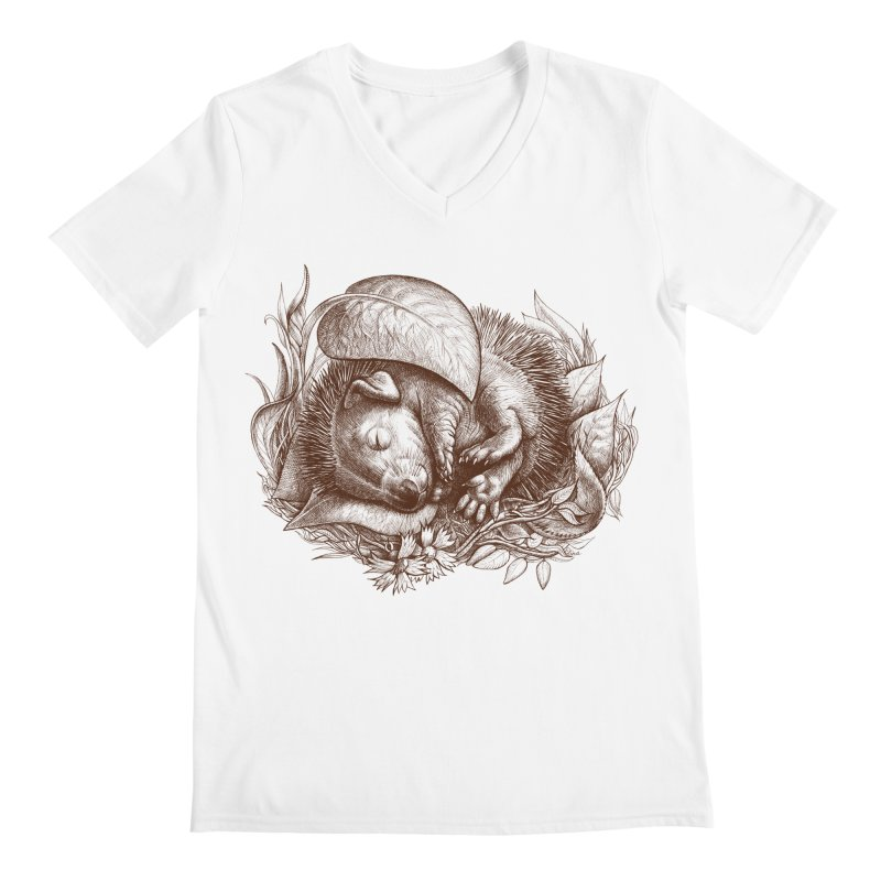 Baby hedgehog sleeping Men's V-Neck by elinakious's Artist Shop