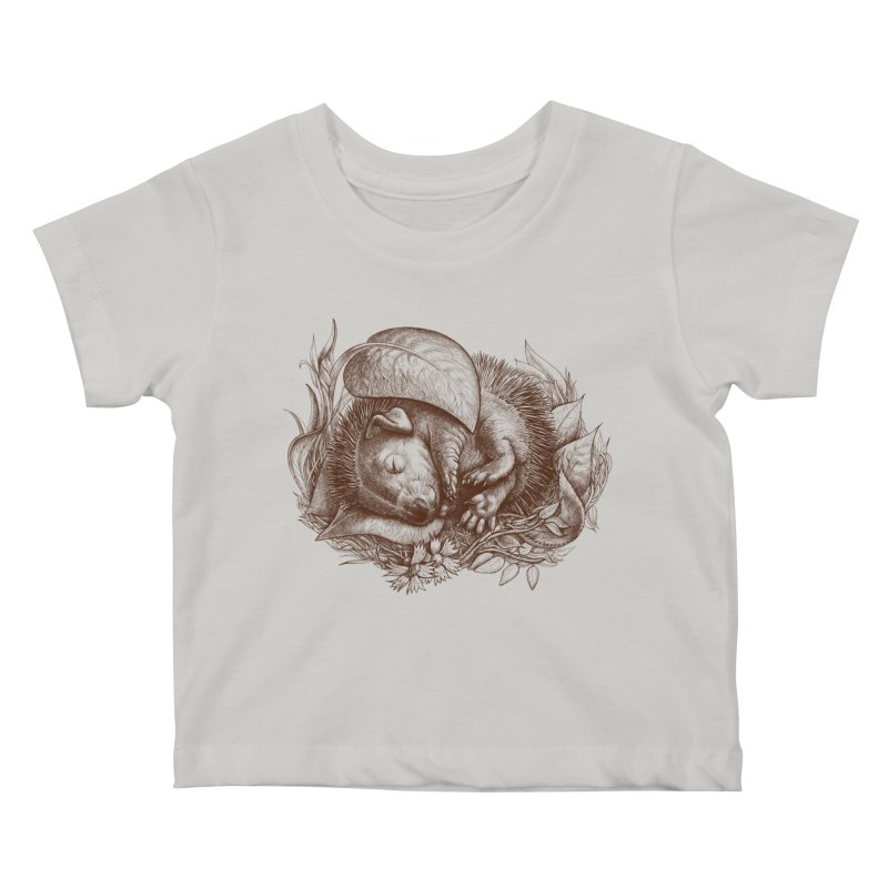 Baby hedgehog sleeping Kids Baby T-Shirt by elinakious's Artist Shop