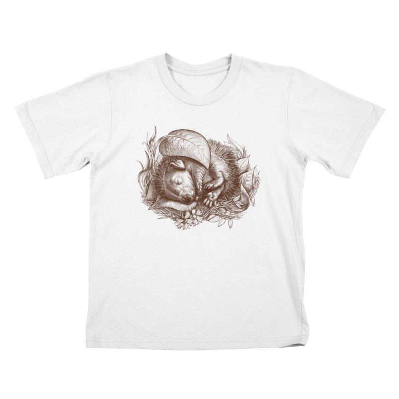 Baby hedgehog sleeping Kids T-shirt by elinakious's Artist Shop