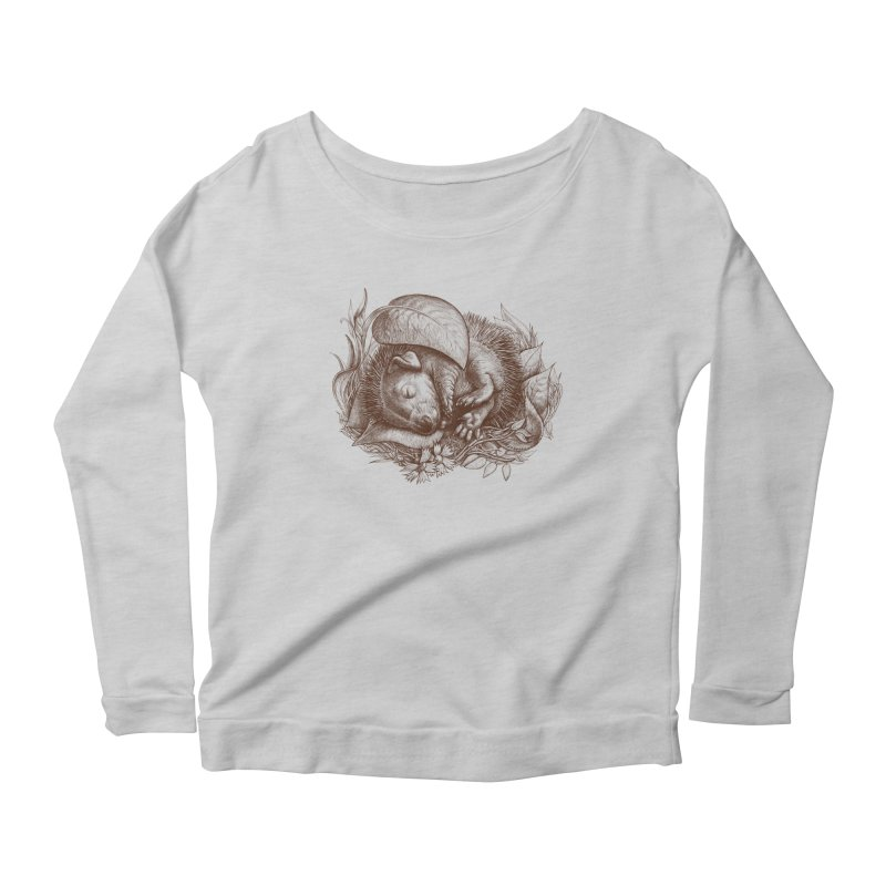 Baby hedgehog sleeping Women's Longsleeve Scoopneck  by elinakious's Artist Shop