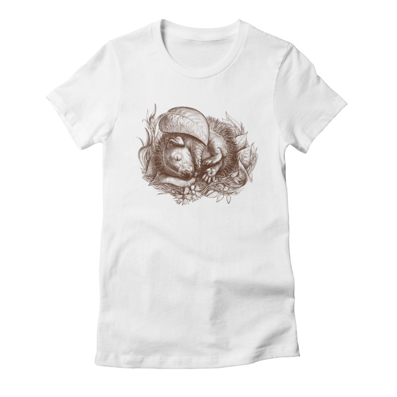 Baby hedgehog sleeping Women's Fitted T-Shirt by elinakious's Artist Shop