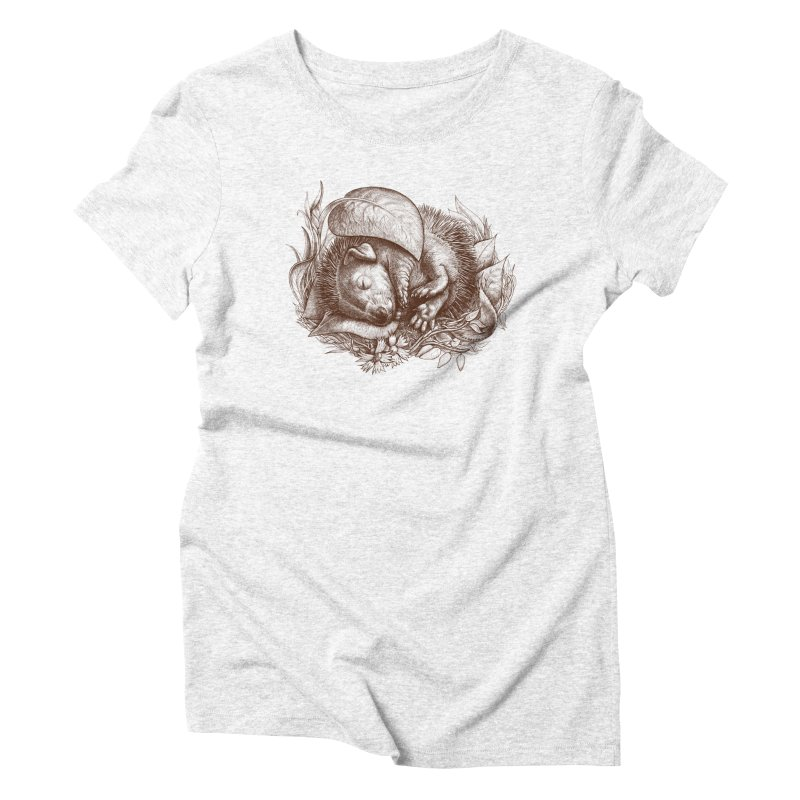 Baby hedgehog sleeping Women's Triblend T-shirt by elinakious's Artist Shop