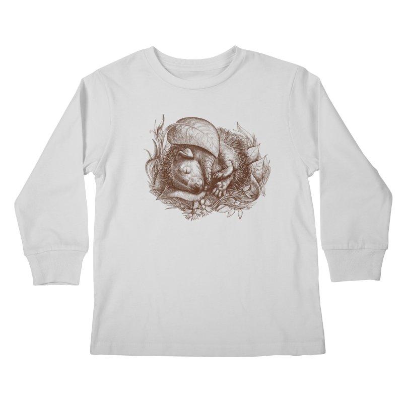 Baby hedgehog sleeping Kids Longsleeve T-Shirt by elinakious's Artist Shop