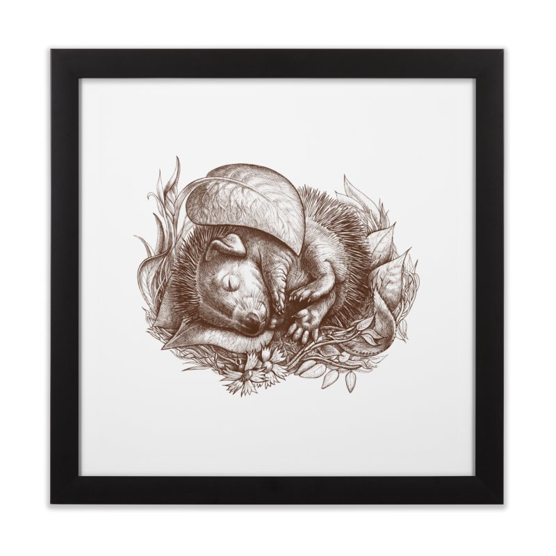 Baby hedgehog sleeping Home Framed Fine Art Print by elinakious's Artist Shop
