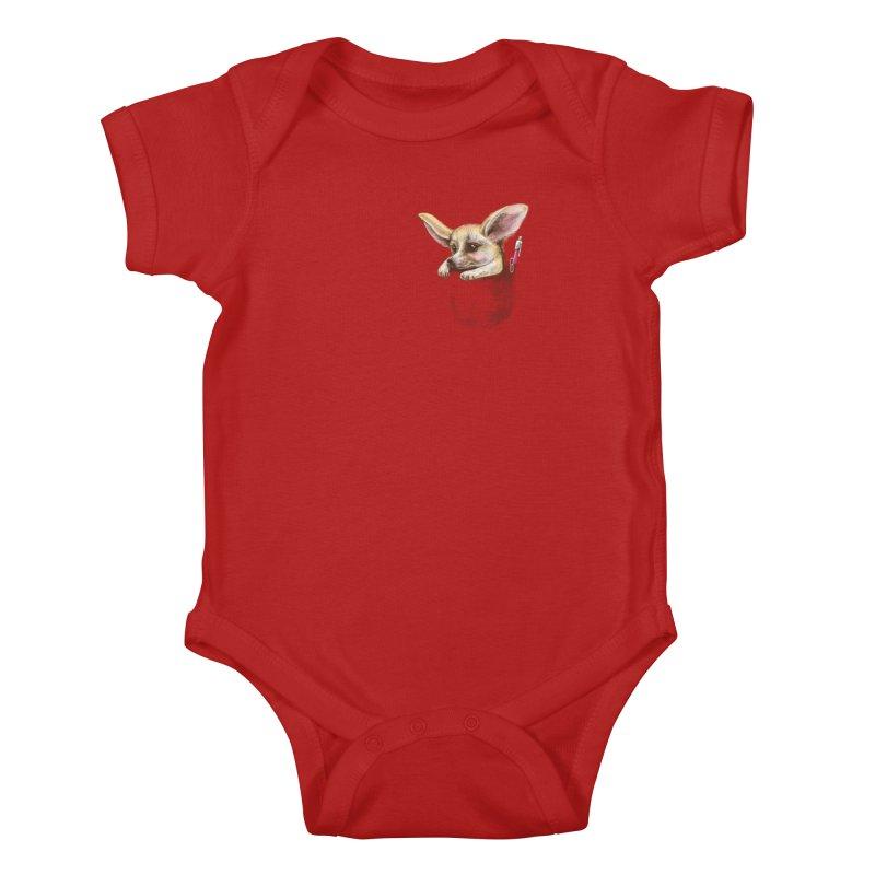 Pocket fennec fox Kids Baby Bodysuit by elinakious's Artist Shop