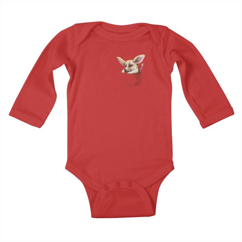 Pocket fennec fox Kids Baby Longsleeve Bodysuit by elinakious's Artist Shop
