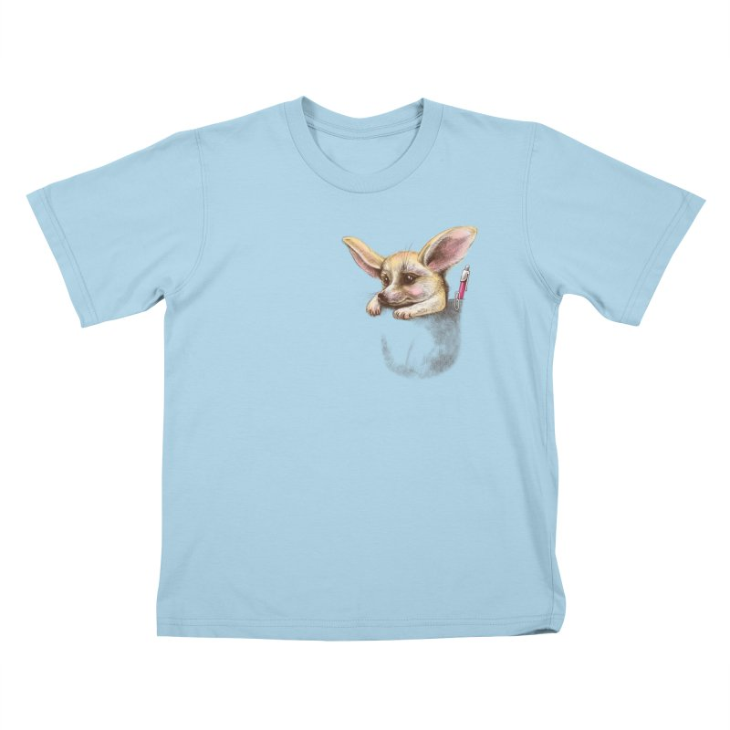 Pocket fennec fox Kids T-shirt by elinakious's Artist Shop