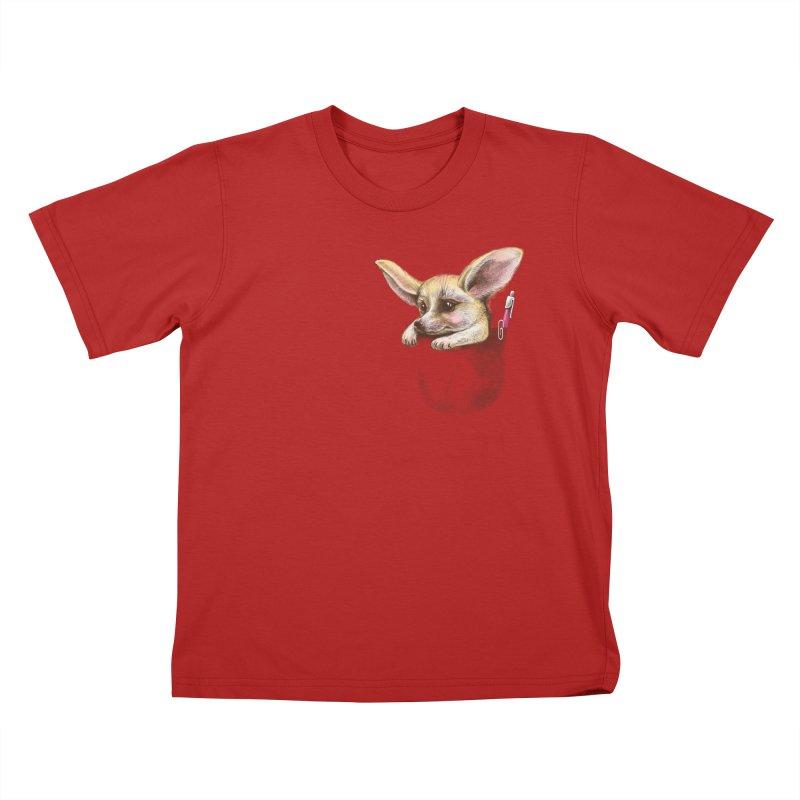 Pocket fennec fox Kids T-shirt by elinakious's Artist Shop