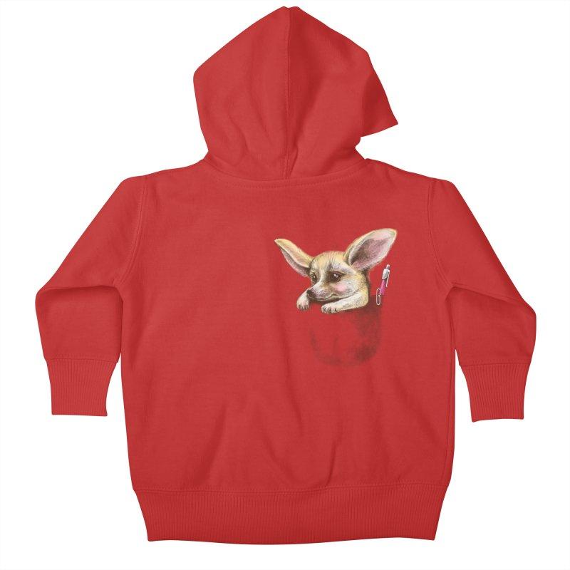 Pocket fennec fox Kids Baby Zip-Up Hoody by elinakious's Artist Shop