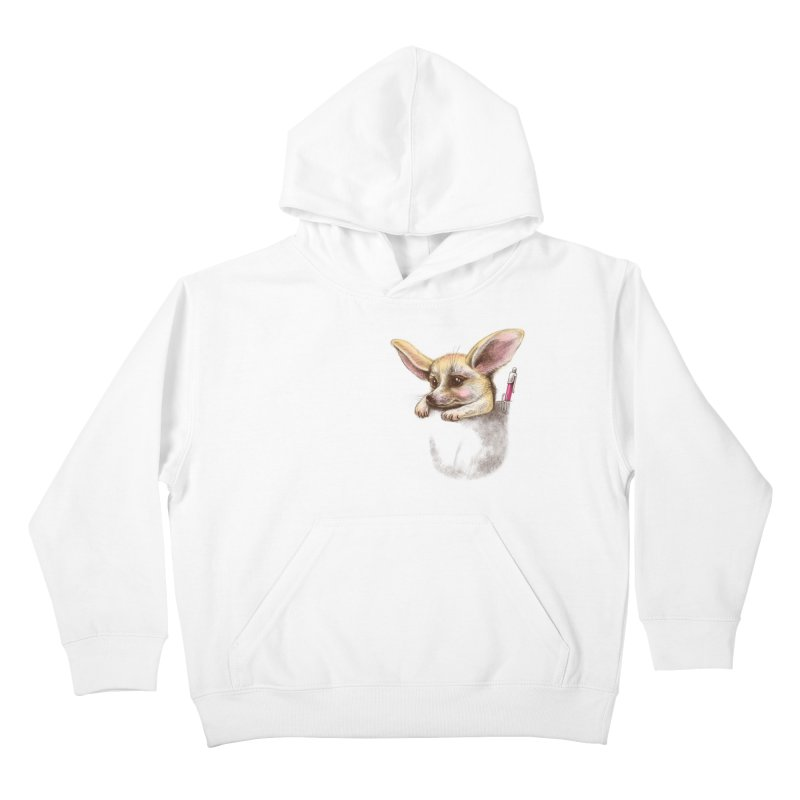 Pocket fennec fox Kids Pullover Hoody by elinakious's Artist Shop