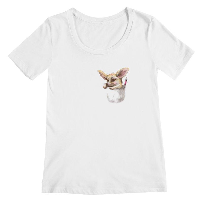Pocket fennec fox Women's Scoopneck by elinakious's Artist Shop