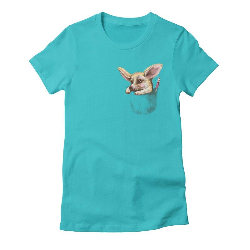 Pocket fennec fox Women's Fitted T-Shirt by elinakious's Artist Shop