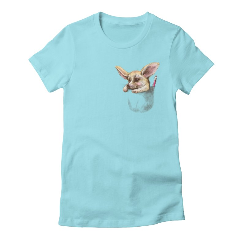 Pocket fennec fox Women's Fitted T-Shirt by elinakious's Artist Shop