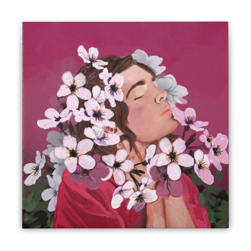Pop pink Spring Home Stretched Canvas by elisaroselli's Artist Shop