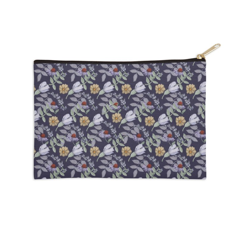 Yellow and violet flowers Accessories Zip Pouch by elisaroselli's Artist Shop