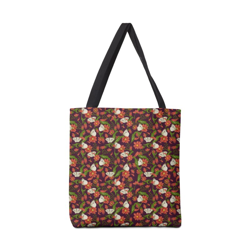 Daisies and butterflies pattern retro purple background Accessories Bag by elisaroselli's Artist Shop