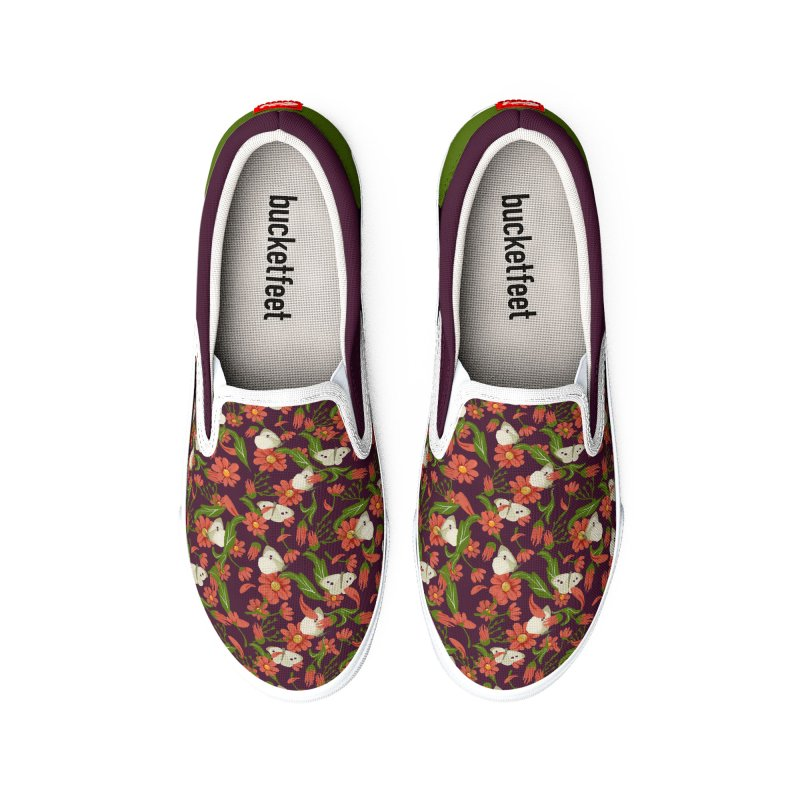 Daisies and butterflies pattern green and purple retro style Men's Shoes by elisaroselli's Artist Shop
