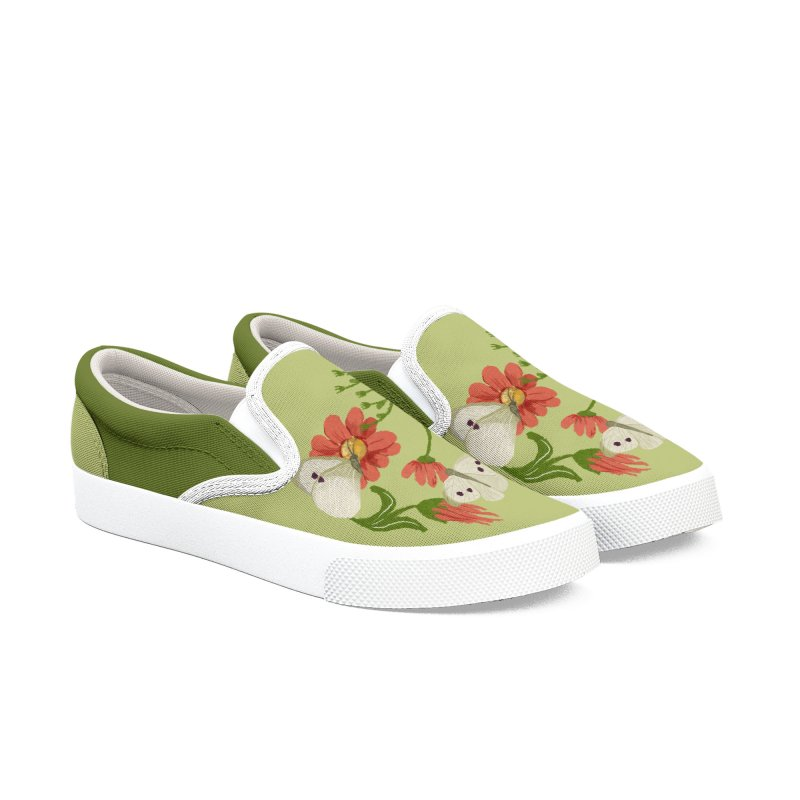 Daisies and butterflies green background Men's Shoes by elisaroselli's Artist Shop