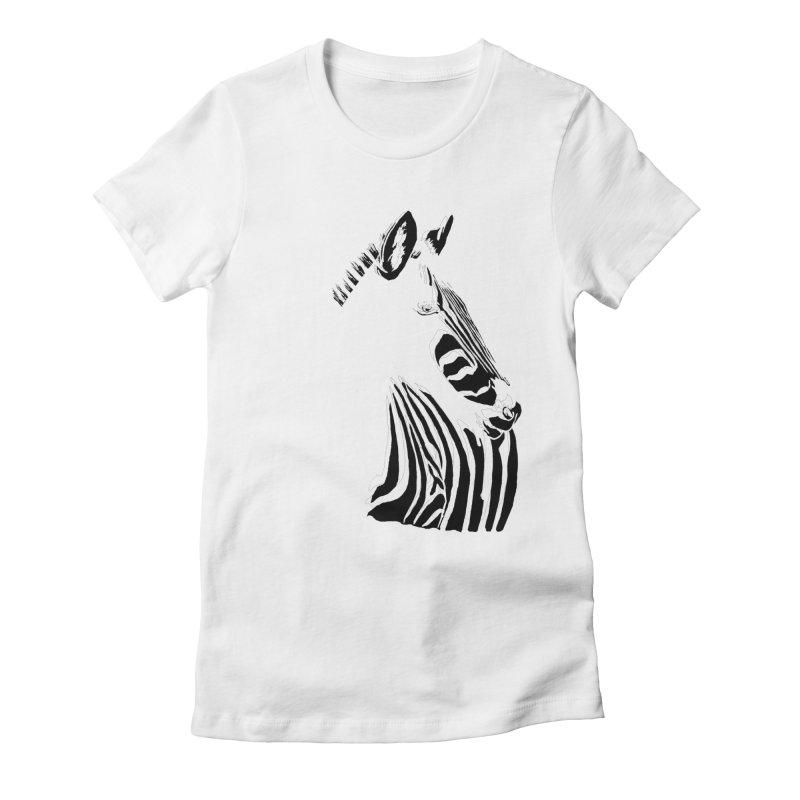 Black stripes on white or white stripes on black? Women's Fitted T-Shirt by eliseanna's Artist Shop