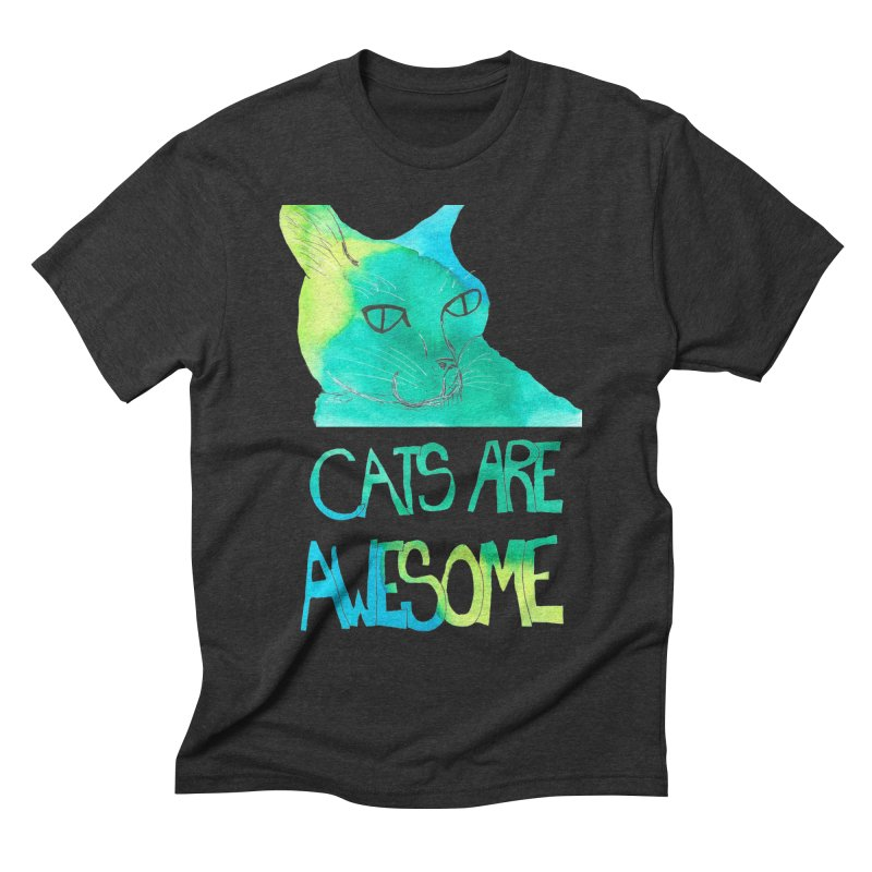 Cats Are Awesome Men's Triblend T-Shirt by Eli Trier Artist's Shop