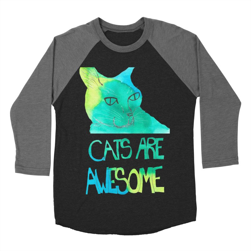 Cats Are Awesome Men's Baseball Triblend T-Shirt by Eli Trier Artist's Shop