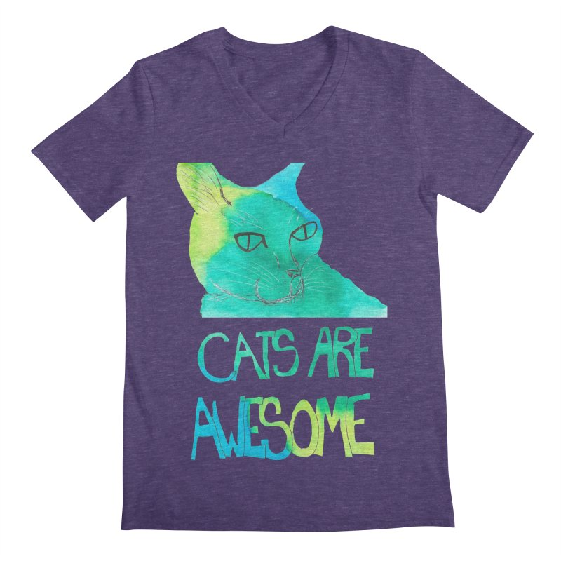 Cats Are Awesome Men's V-Neck by Eli Trier Artist's Shop