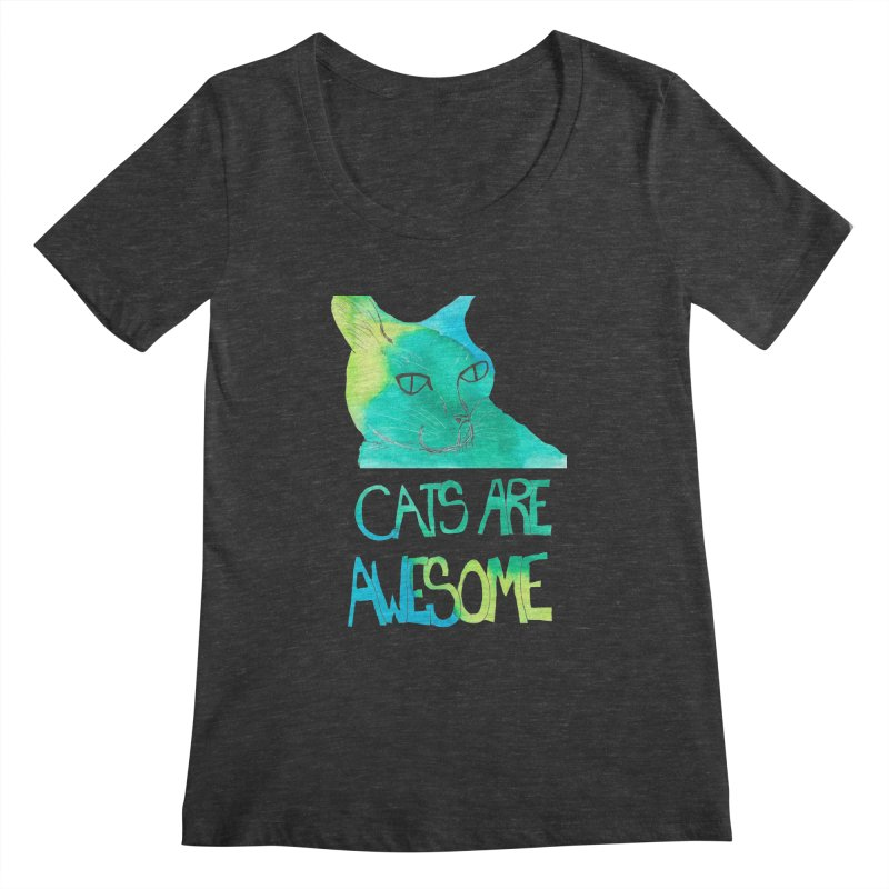 Cats Are Awesome Women's Scoopneck by Eli Trier Artist's Shop
