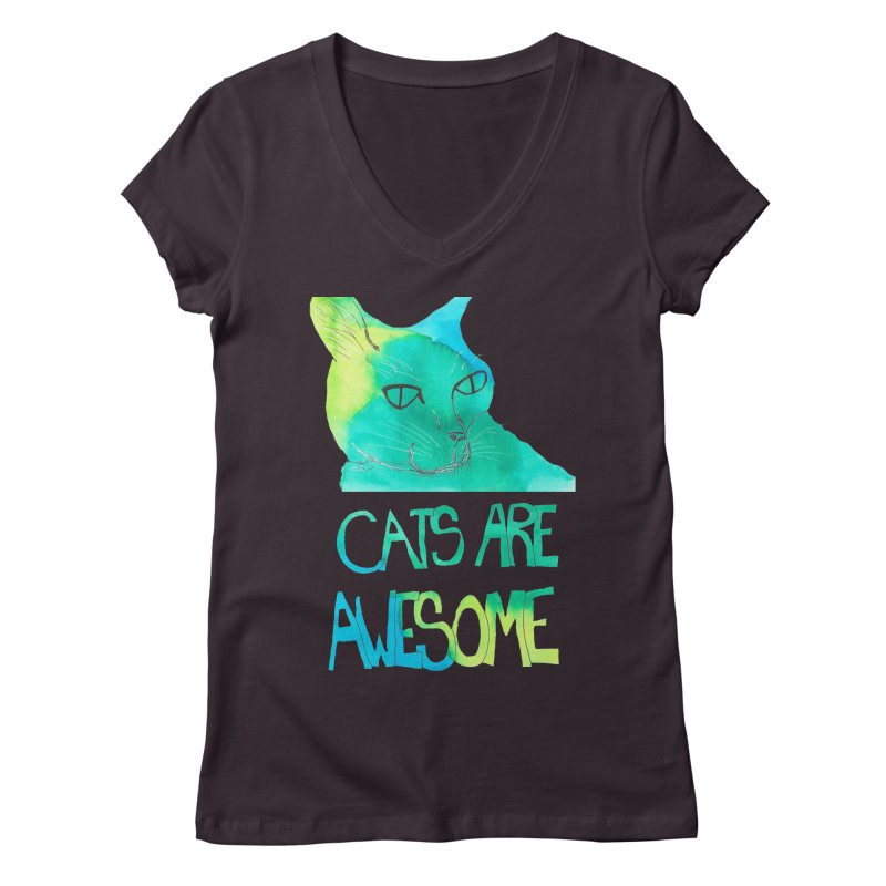 Cats Are Awesome Women's V-Neck by Eli Trier Artist's Shop