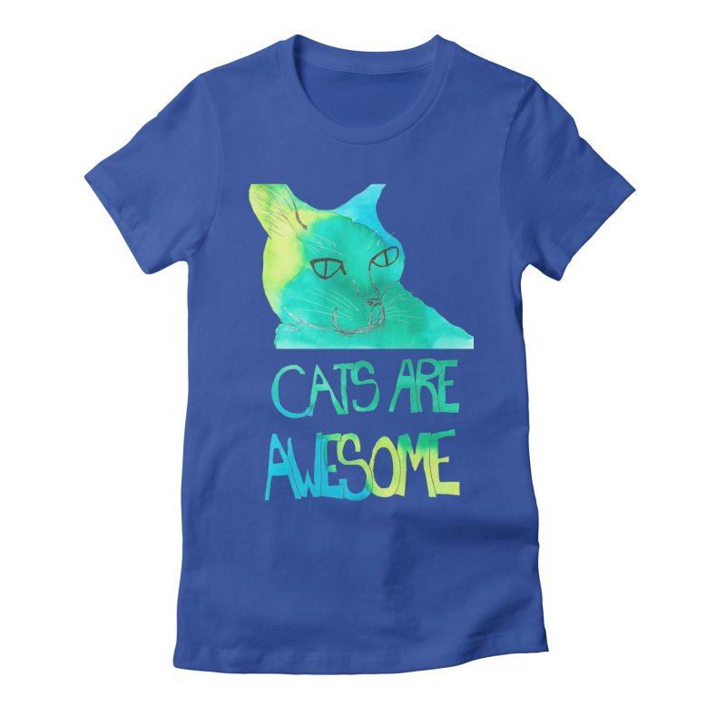 Cats Are Awesome Women's Fitted T-Shirt by Eli Trier Artist's Shop