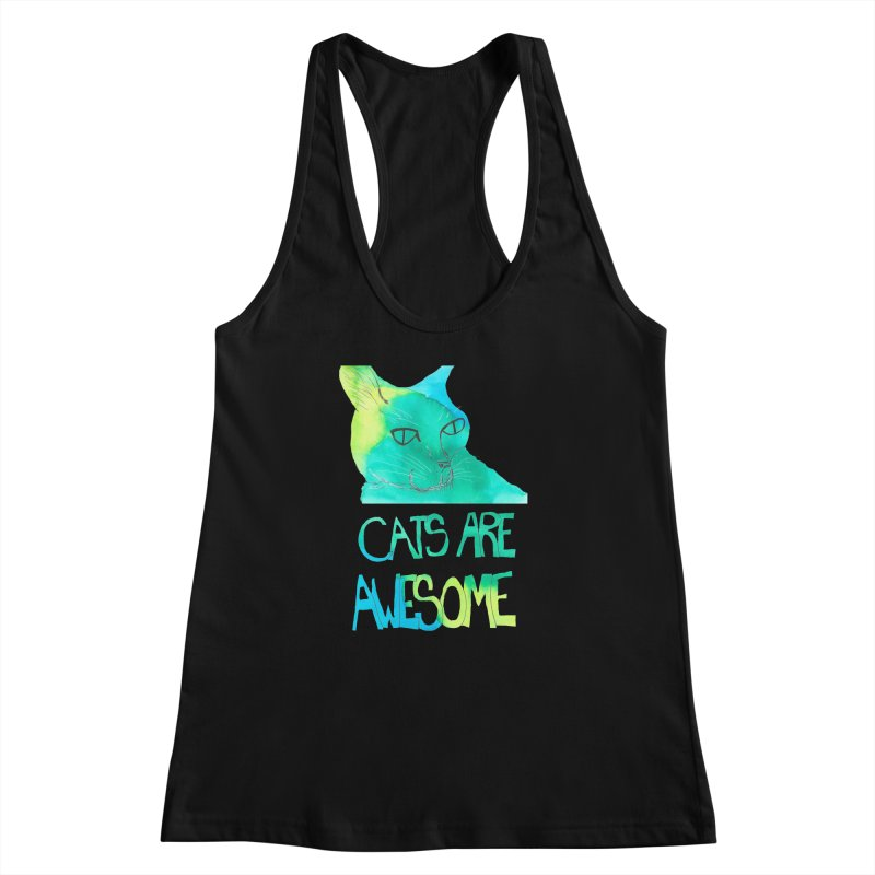 Cats Are Awesome Women's Racerback Tank by Eli Trier Artist's Shop
